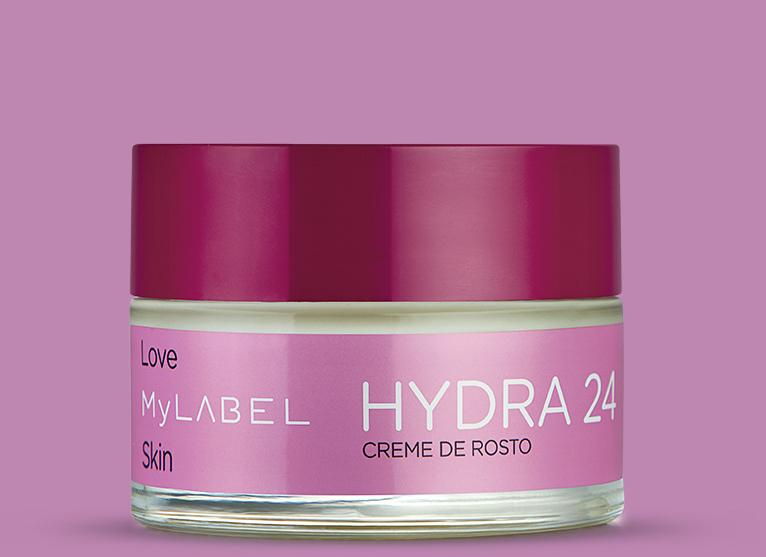 Creme de rosto MyLABEL Hydra 24 com manteiga de karité e óleo de argão, proporciona uma hidratação por 24 h, deixando a pele suave e macia.